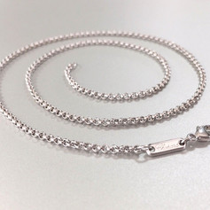 """Authentic Chopard 18k White Gold Rolo Link Chain Necklace 23.5"""" Lobster clasp"""