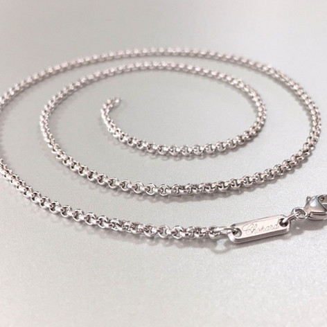 "Authentic Chopard 18k White Gold Rolo Link Chain Necklace 23.5"" Lobster clasp"