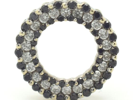 Vintage Black and White Diamond Pendant Circular Shape Appx. 1.50 TCW