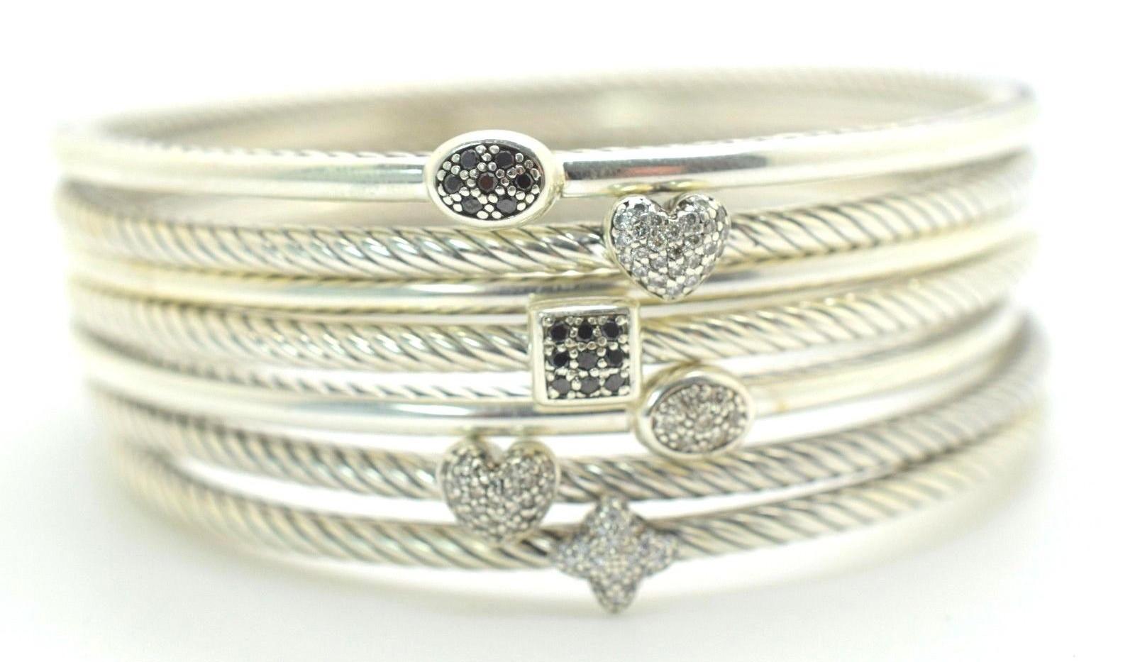 David Yurman Black Diamond Cable Bangle .7 Ct .925 Sterling Silver Oval Shape