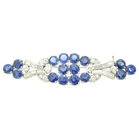 AGL Certified Sapphire and Diamond Gazdar Platinum Brooch