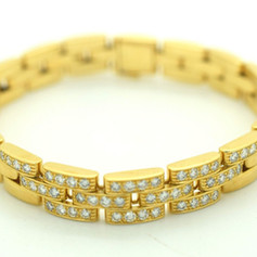 Cartier Maillon Panthère Diamond Bracelet 18k Yellow Gold 1.25 Tcw