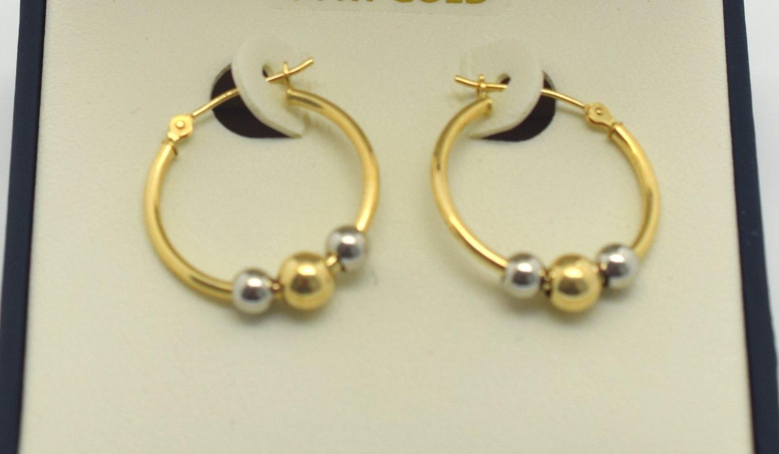 Gold Hoop Earrings 14k Yellow and White Gold 1 Gram 25 MM NR