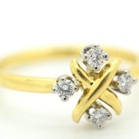 Tiffany & Co. Schlumberger Studios Diamond Platinum & Gold 18k Lynn Ring Size 9