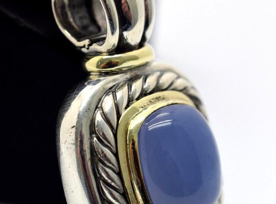 David Yurman Purple Chalcedony Sterling Silver and 14k Yellow Gold XL Pendant