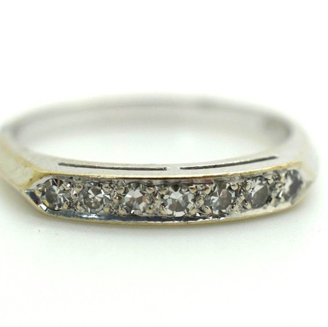 Estate Diamond Ring Appx. 20 Ct. 14k White Gold Size 7.25 2.55 Grams