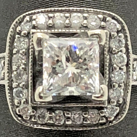 Estate 1.00 Tcw Scott Kay 14k Princess Cut Engagement Ring F Color I1 Clarity