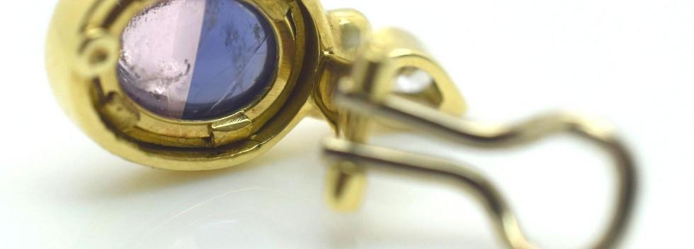 H. Stern Diamond and Amethyst Quartz Doublet 18k Yellow Gold Earrings
