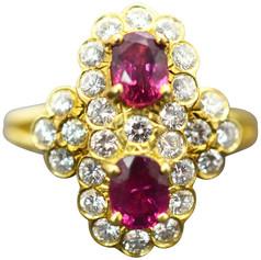 Estate Ruby and Diamond Ring 18 Karat