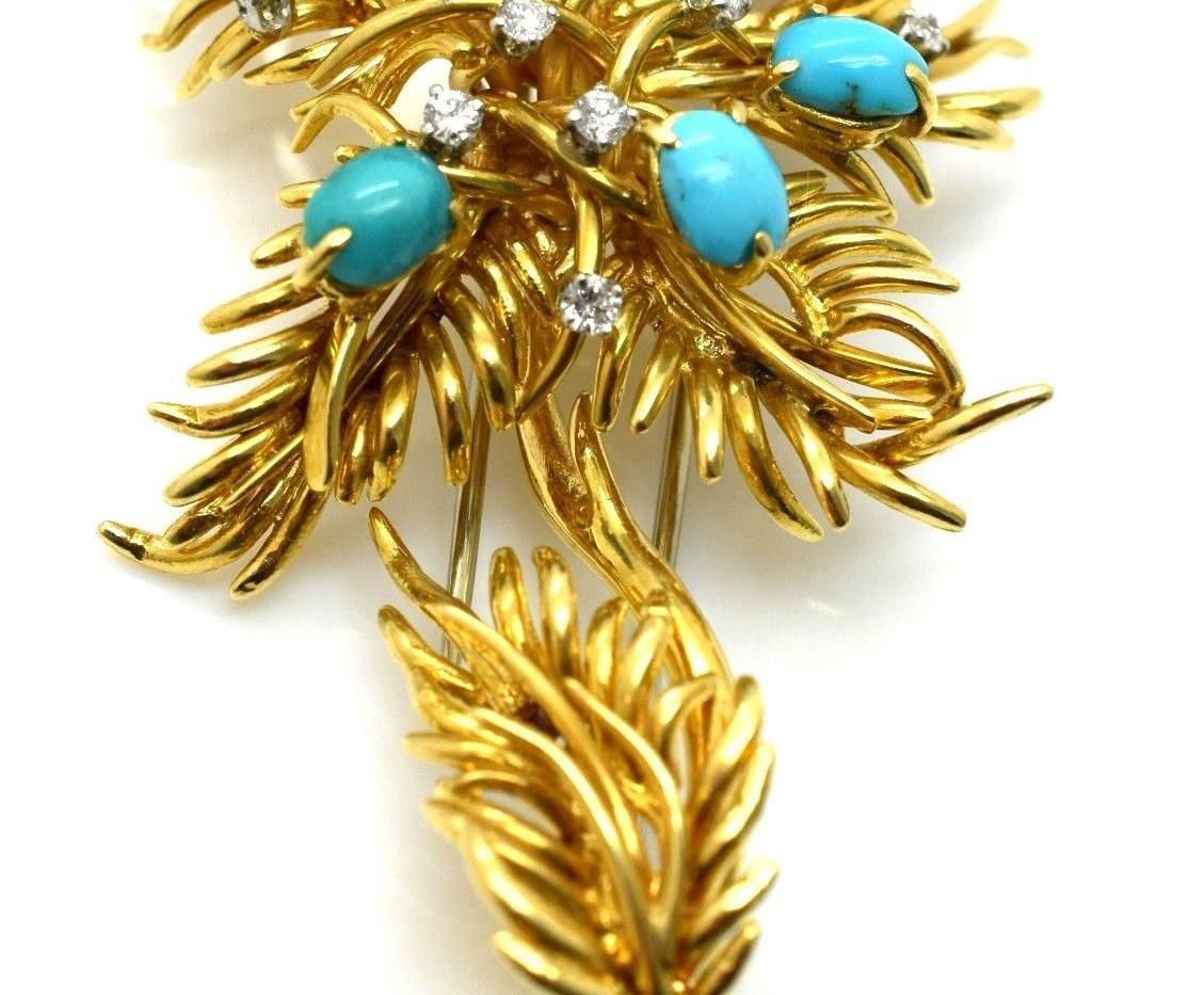 Estate David Webb Turquoise & Diamond Floral Broche 18k Gold 32.6 Grams