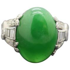 GIA Certified Natural Jade Art Deco Platinum Ring