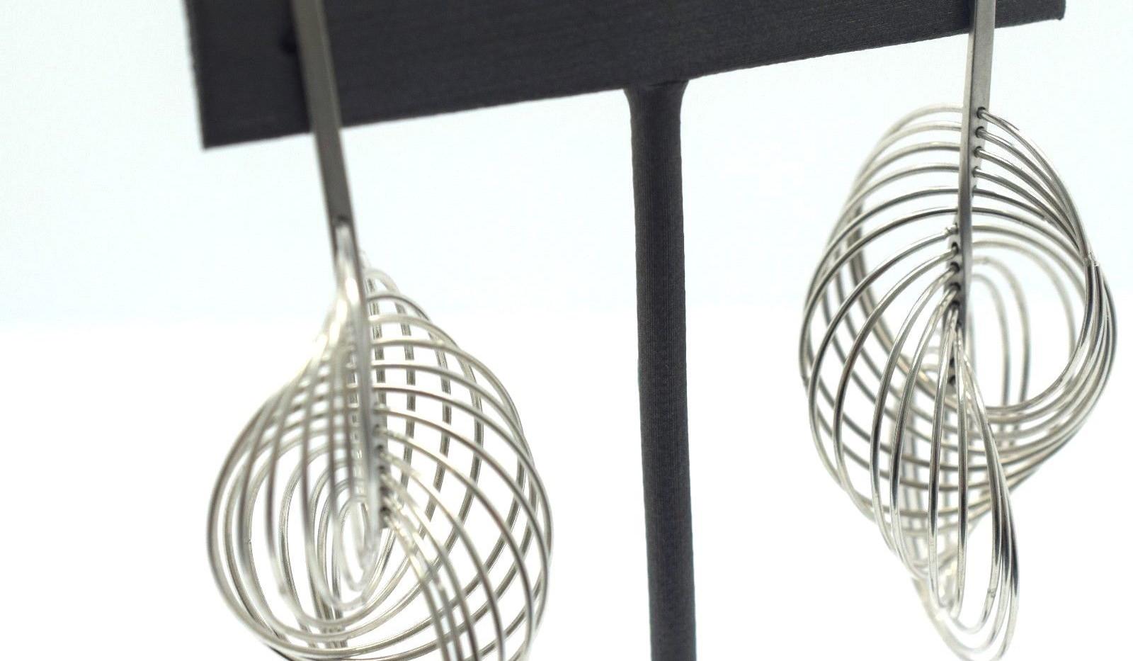Estate Slinky Hoop Earrings 18k White Gold 14.7 Grams 58 MM