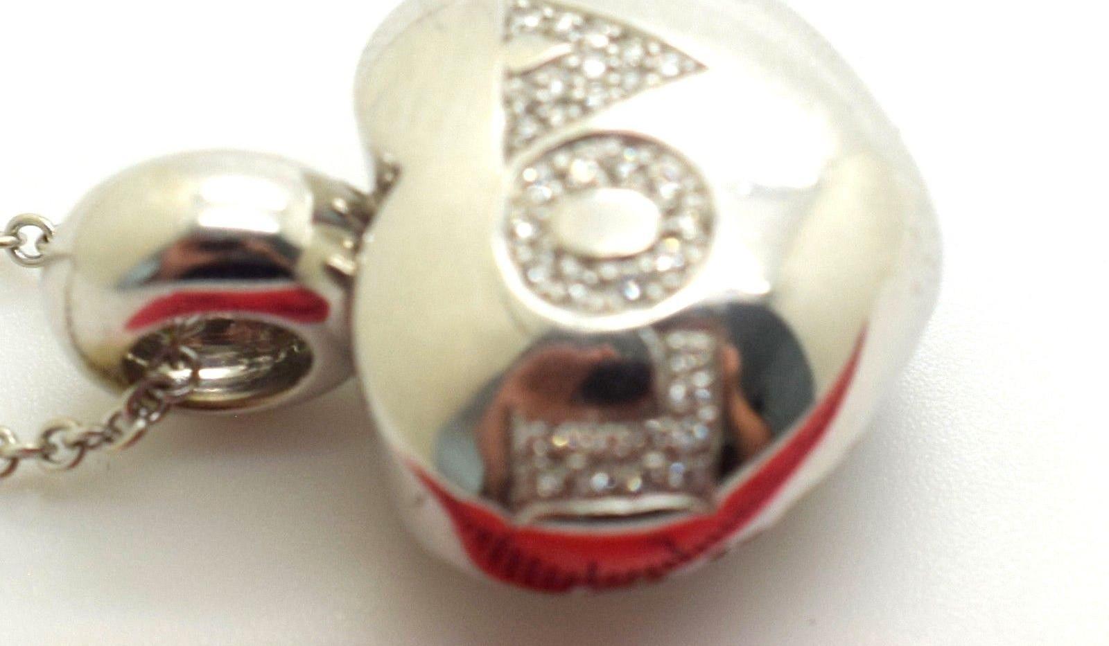 "Pasquale Bruni Necklace ""Love"" 18k White Gold Diamond Heart Pendant & Chain 18"""