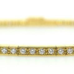 Cartier Lanieres Diamond 18K Yellow Gold Diamond Tennis Bracelet 17CM