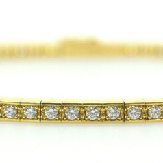 Cartier Lanieres Diamond 18K Yellow Gold Diamond Tennis Bracelet 17CM
