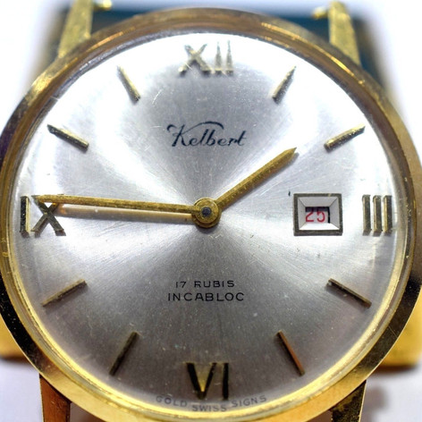 Vintage Kelbert Manual Wind Watch 17 Jewels With Date 18k Yellow Gold