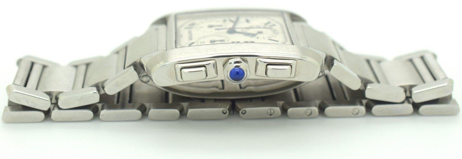 Cartier Tank Francaise 2303 Swiss Quartz Chronograph Stainless Steel Watch