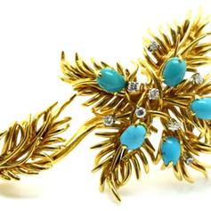 Estate David Webb Turquoise & Diamond Floral Brooche 18k Gold 32.6 Grams