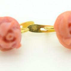 Vintage Coral Earrings Rose Flower 18k Yellow Gold Omega Back 3.17 Grams