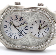 Phillip Stein Teslar Watch Diamond Dial Mother of Pearl Dial Face Arabic Numeral