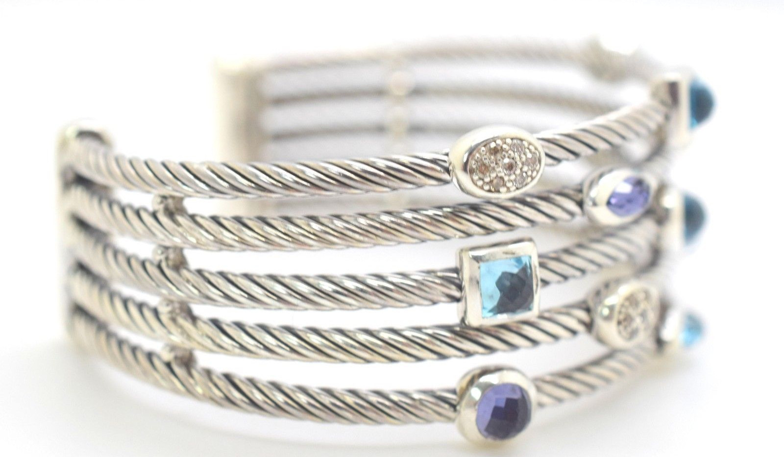 David Yurman Confetti Cuff Diamond,Topaz, Amethyst .925 Sterling Silver 5 Row