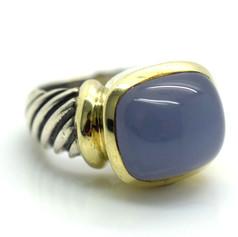 David Yurman Purple Chalcedony Ring Sterling Silver & 14k Yellow Gold Size 5.5