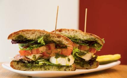 Prosciutto mozzarella sandwich