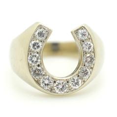 Estate Diamond Horse Shoe Ring 14k White Gold Size 6 Appx. .75 TCW