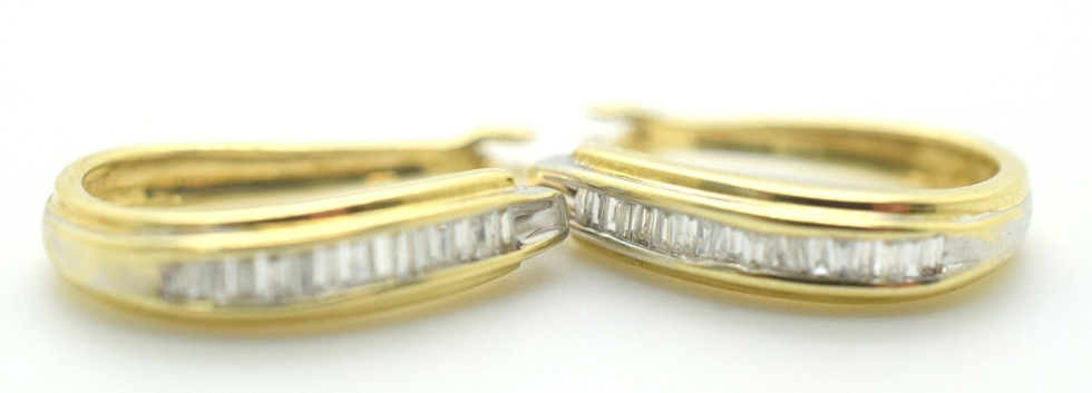 Diamond and 14k Yellow Gold Hoop Earrings Baguettes Appx. .40 Tcw