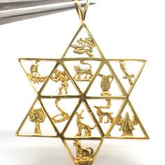 Estate Star of David Pendant Twelve Tribes of Israel 14k Yellow Gold