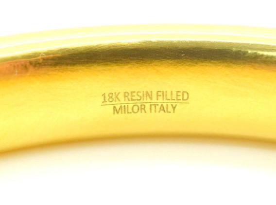 Milor Italy 18k Yellow Gold Resin Filled Gold Bangle 23.2 Grams