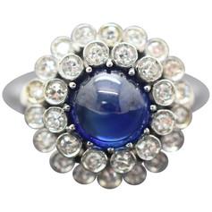 Sapphire and Diamond 18 Karat Cabochon Ring