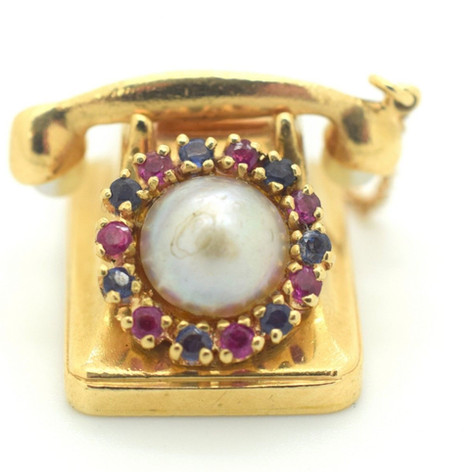 Estate Telephone Charm Sapphires Rubies & Pearls 14K Yellow Gold 14.5 Grams
