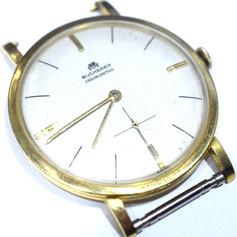 Vintage Bucherer Chronometre Manual Wind Watch 18k Yellow Gold Ivory Face