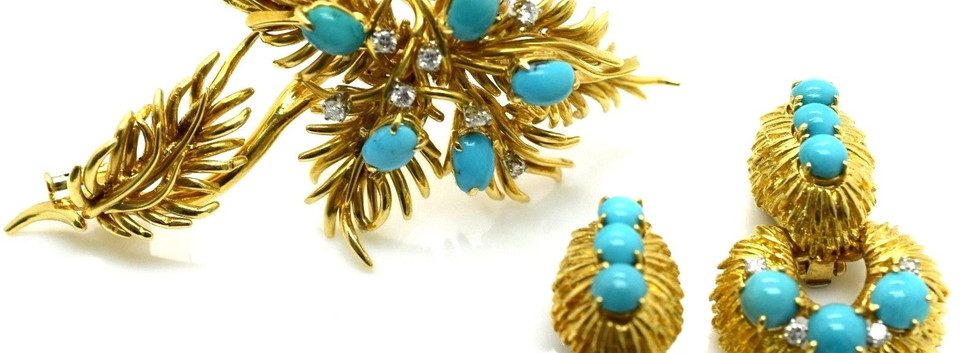 Estate David Webb Turquoise & Diamond Floral Broche 18k Gold 32.6 Grams