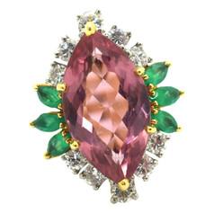 Cartier Pink Tourmaline and Diamond 18 Karat Yellow Gold Cocktail Ring