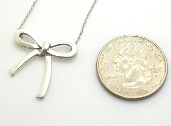 """Tiffany & Co.925 Sterling Silver Large Bow Necklace Appx. 1"""" Pendant & Chain 16"""""""