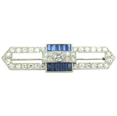 Art Deco Platinum Sapphire and Diamond Brooch
