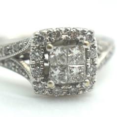 Estate Princess Cut Diamonds .75 Tcw Engagement Ring 3.2 Grams Size 4.5 14K