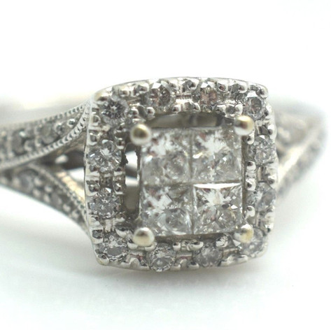 Estate Princess Cut Diamonds .75 Tcw Engagement Ring 3.2 Grams Size 4.5 14K