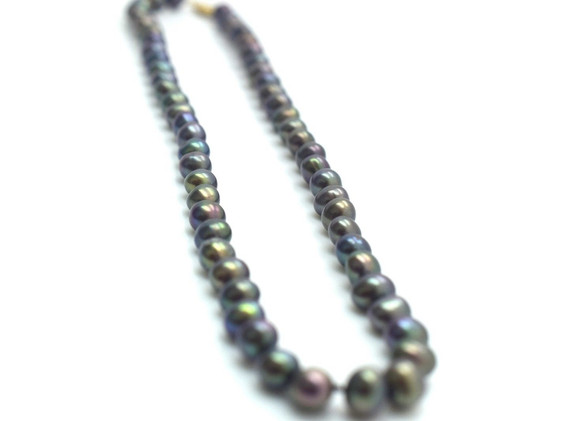 Vintage Tahitian Pearl Strand 14k Yellow Gold Clasp 22.5 Grams 16 Inches