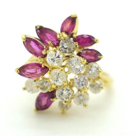 Vintage 2.00 Ct Diamond and Ruby 14k Yellow Gold Ballerina Ladies Ring Size 6
