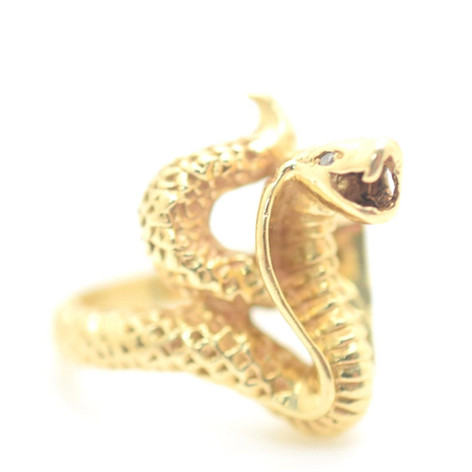 Vintage Snake Ring 14k Yellow Gold and Diamonds Size 8.75 16.9 Grams