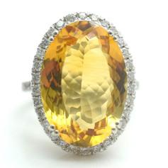 Estate 22 Tcw. Diamond Citrine 18k White Gold Ring Size 7 7.6 Grams