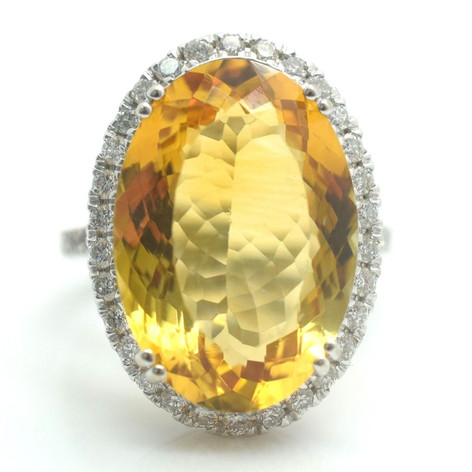 Estate 22 Tcw. Diamond Citrine 18k White Gold Ring Size 7 7.6 Grams