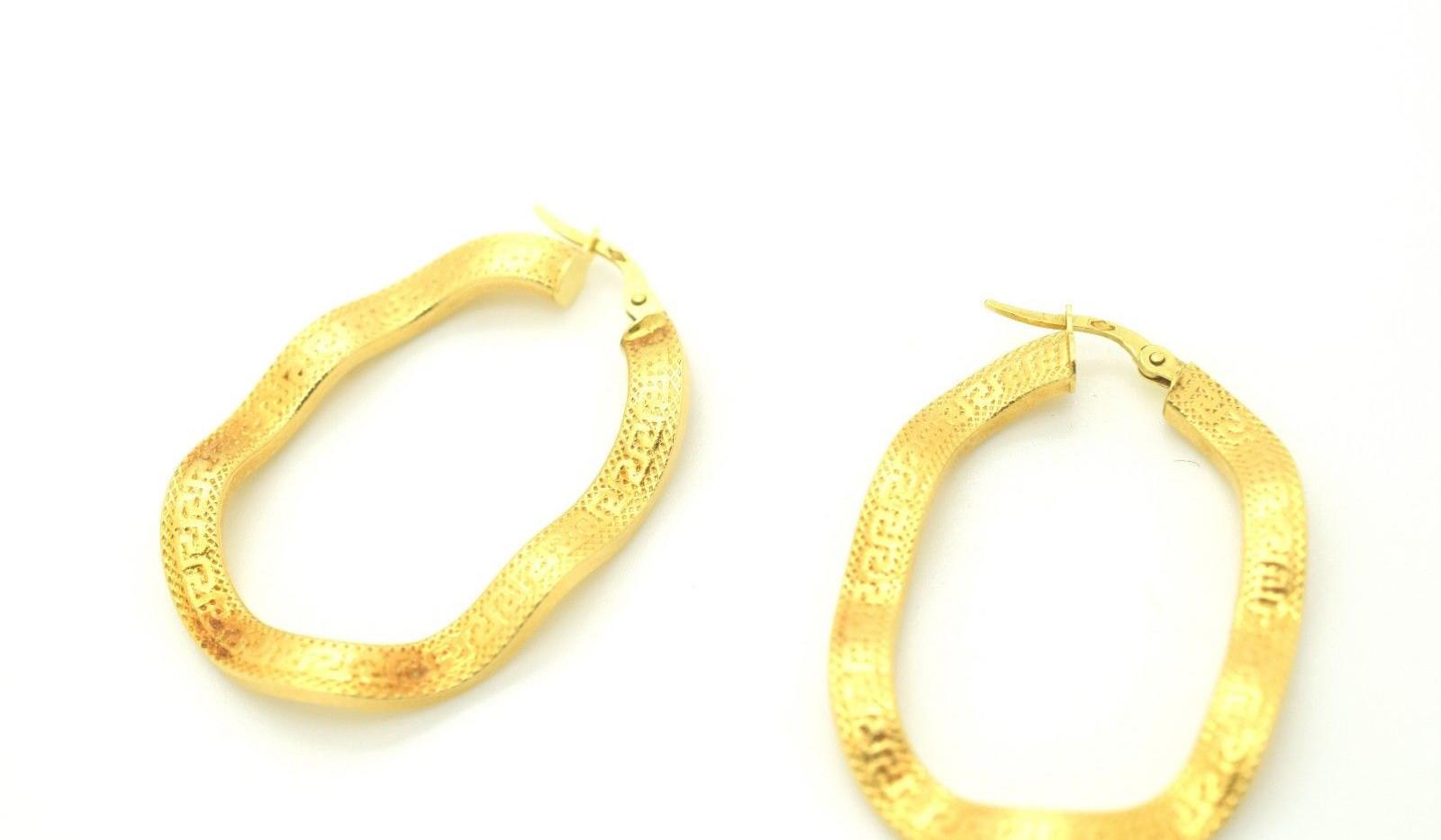 Estate Wavy Hoop Earrings 18k Yellow Gold Greek Key Border 4.63 Grams