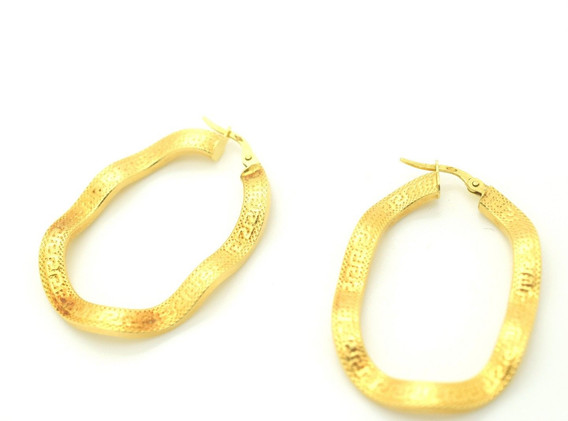 Estate Wavy Hoop Earrings 18k Yellow Gold Greek Key Border 4.63 Grams