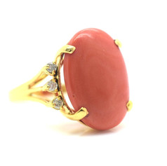 Estate Red Coral and Diamond Yellow Gold Ring 14k 6.89 Grams Size 7