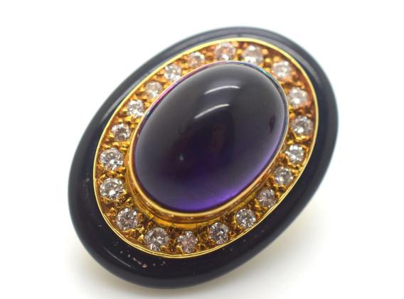 Estate Lagos Amethyst and Diamond Earrings 18K Yellow Gold 1.10 Tcw