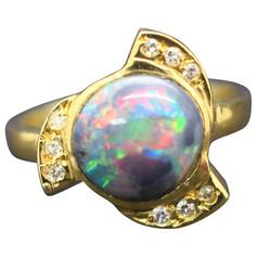 Black Opal Diamond Ring 18 Karat Lightning Ridge
